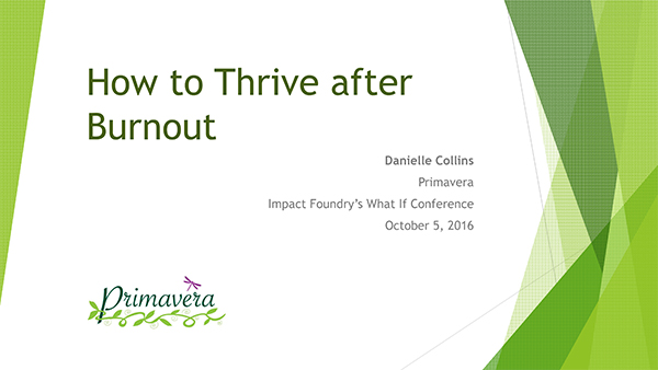 How to Thrive after Burnout, Danielle Collins, Primavera, What If Conference
